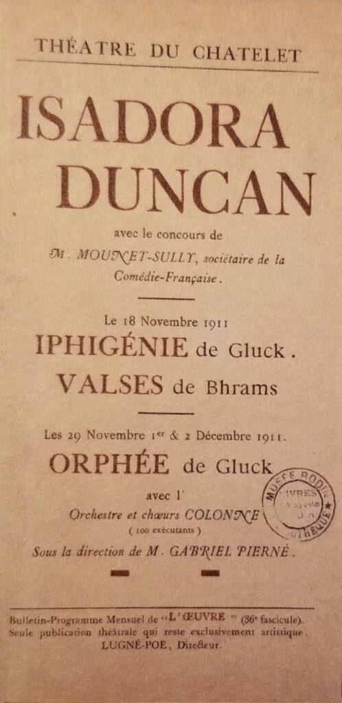 Isadora Duncan  Theatre du Chatelet 1911